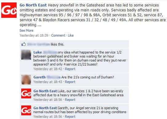 Facebook excerpt of Go-North East thread